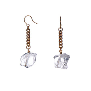 Keep Me Hanging Rough Quartz Earrings Short