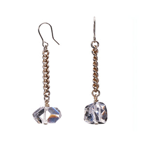 Keep Me Hanging  Clear Quartz Earrings Short