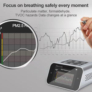 BRWISSEN BR-A16 Air Quality Monitor Indoor Pollution Tester for PM1.0 PM2.5 PM10 Particulate Matter Fine Dust Meter TVOC VOCs HCHO Analyzer Formaldehyde Air Gas Detector Data Logger