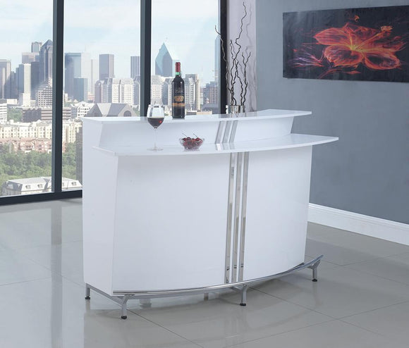 Contemporary White Bar Unit With Stemware Racks