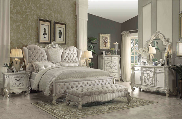 Versailles Ivory Velvet & Bone White California King Bed image