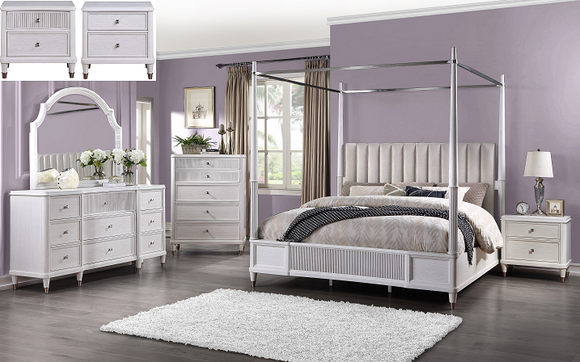 Celestia Fabric & Off White Eastern King Bed (Canopy) image
