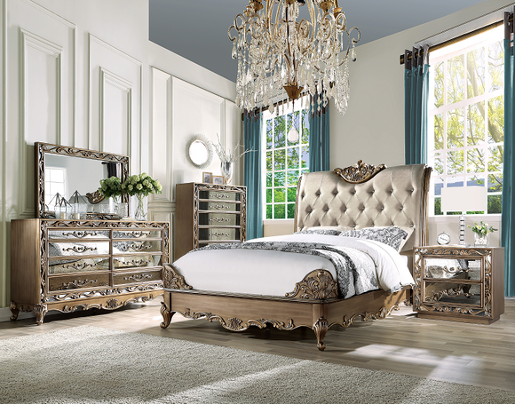 Orianne Champagne PU & Antique Gold California King Bed image