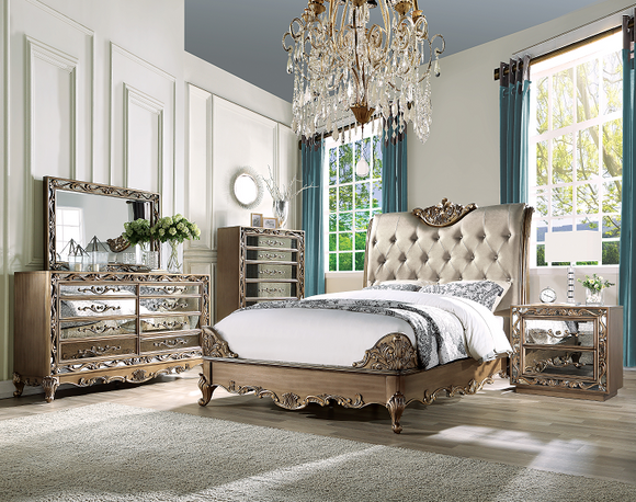 Orianne Champagne PU & Antique Gold Eastern King Bed image