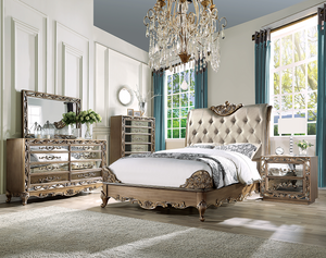 Orianne Champagne PU & Antique Gold Queen Bed image