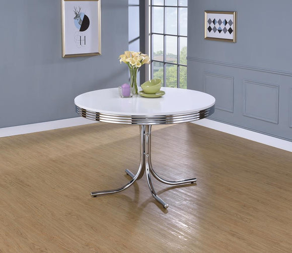 Retro White and Chrome Dining Table image