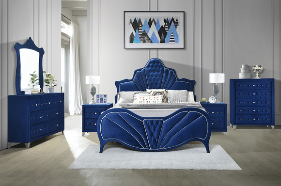 Dante Blue Velvet Eastern King Bed image