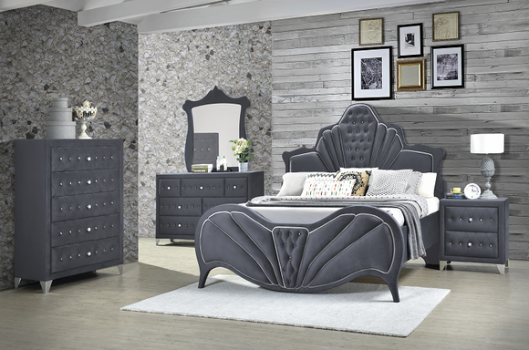 Dante Gray Velvet Queen Bed image