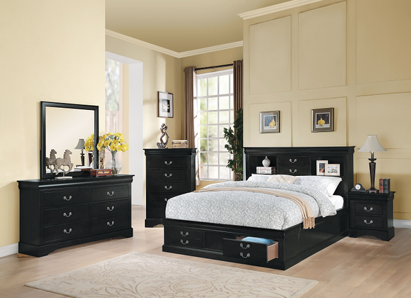 Louis Philippe III Black Queen Bed image