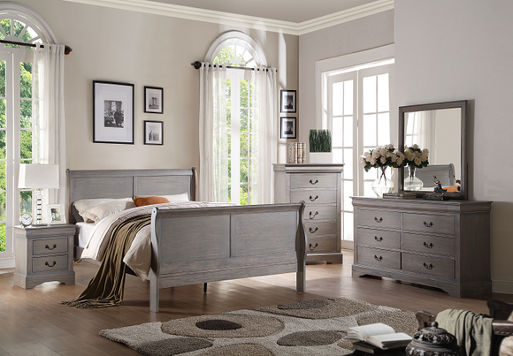 Louis Philippe III Antique Gray Queen Bed image