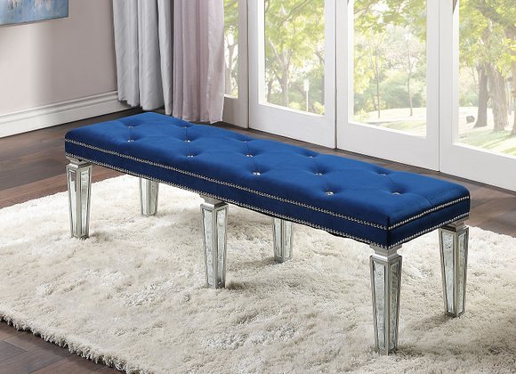Varian Blue Velvet & Mirrored Bench image