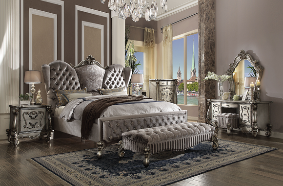 Versailles Velvet & Antique Platinum Queen Bed image