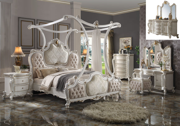 Picardy Fabric & Antique Pearl California King Bed (Canopy) image
