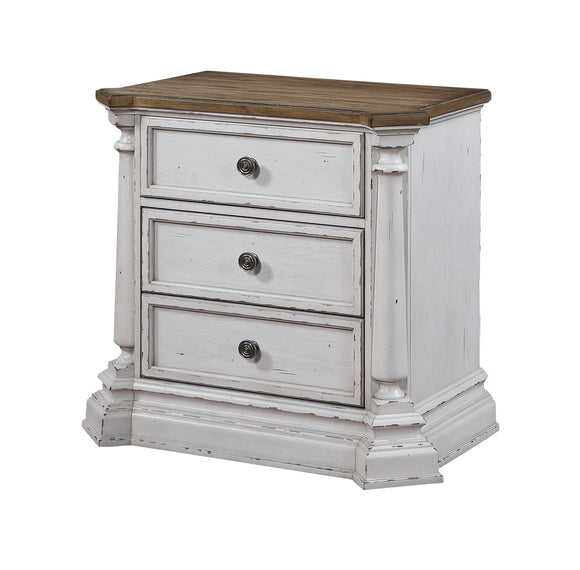 York Shire Antique White & Dark Charcoal Nightstand image