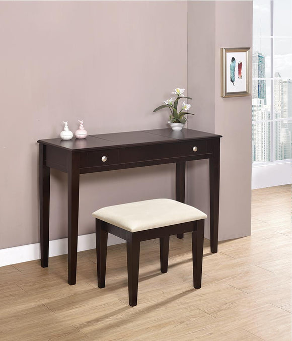 Contemporary Espresso Vanity and Bench