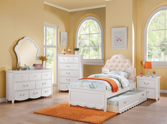 Cecilie Light Pink PU & White Twin Bed image