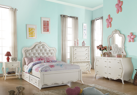 Edalene PU & Pearl White Twin Bed image