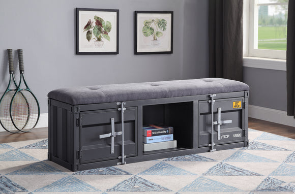 Cargo Gray Fabric & Gunmetal Bench (Storage) image