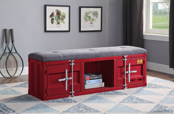 Cargo Gray Fabric & Red Bench (Storage) image
