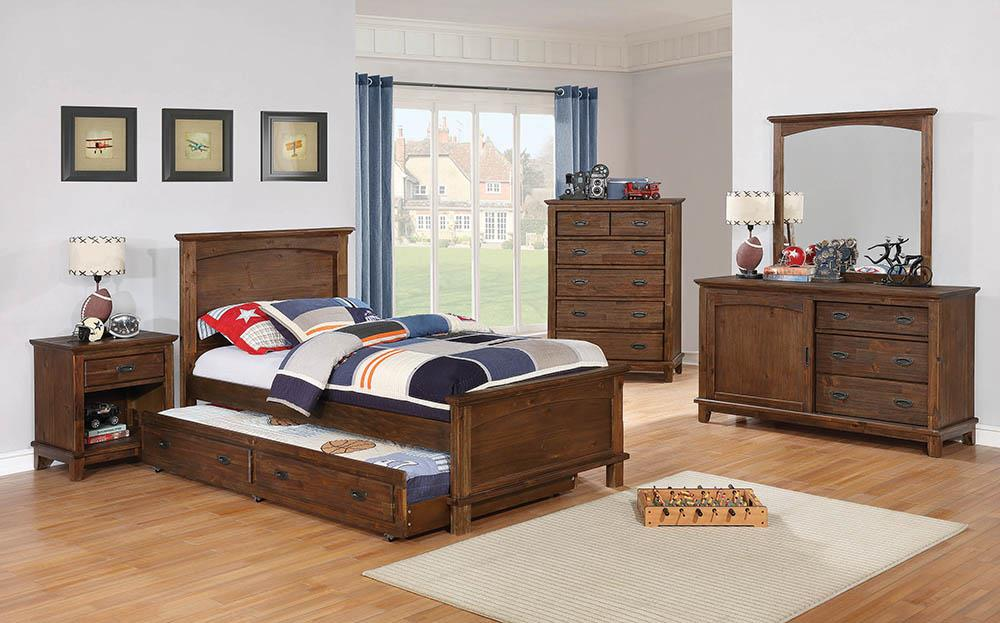 Kinsley Rustic Country Brown Twin Bed