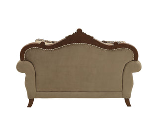 Mehadi Velvet & Walnut Loveseat w/6 Pillows image