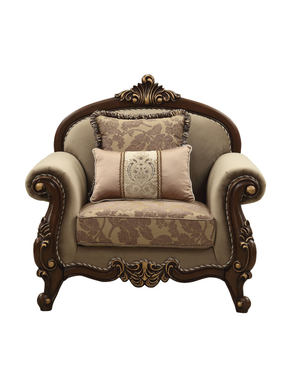 Mehadi Velvet & Walnut Chair & 2 Pillows image