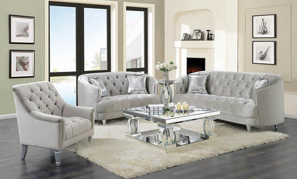 Avonlea Traditional Grey and Chrome Sofa
