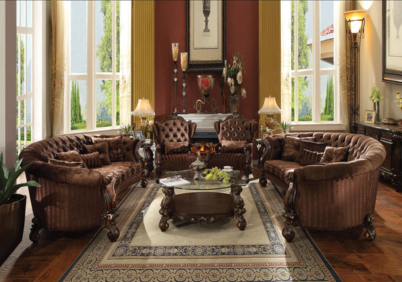 Versailles Brown Velvet & Cherry Oak Sofa w/5 Pillows image