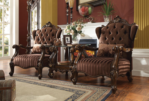 Versailles Brown Velvet & Cherry Oak Chair & 1 Pillow image