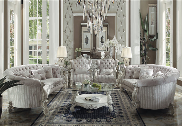 Versailles Ivory Velvet & Bone White Sofa w/5 Pillows image