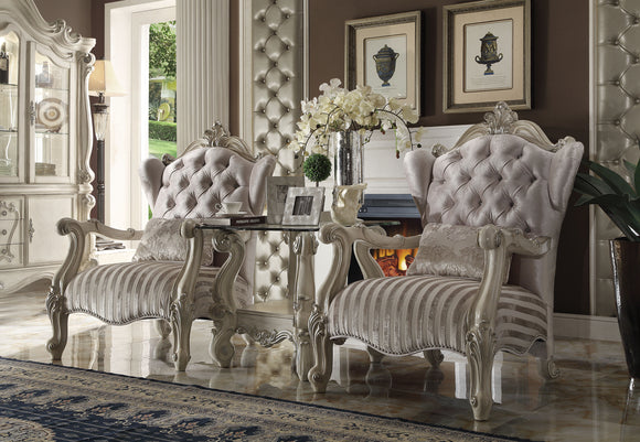 Versailles Ivory Velvet & Bone White Chair & 1 Pillow image