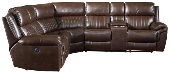 Acme Lonna Power Motion Sectional Sofa in Brown Leather-Gel 53695 image