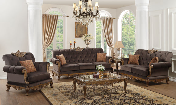Orianne Charcoal Fabric & Antique Gold Sofa w/2 Pillows image