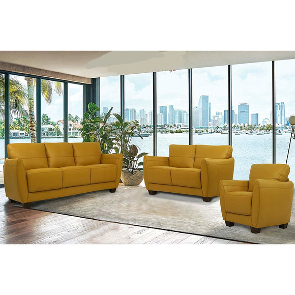 Valeria Mustard Leather 3-Piece Living Room Set image