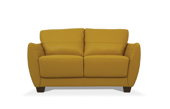 Valeria Mustard Leather Loveseat image