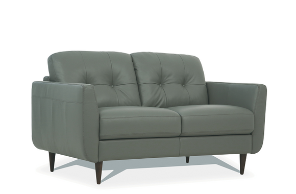 Radwan Pesto Green Leather Loveseat image