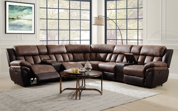 Jaylen Toffee & Espresso Polished Microfiber Sectional Sofa (Motion) image