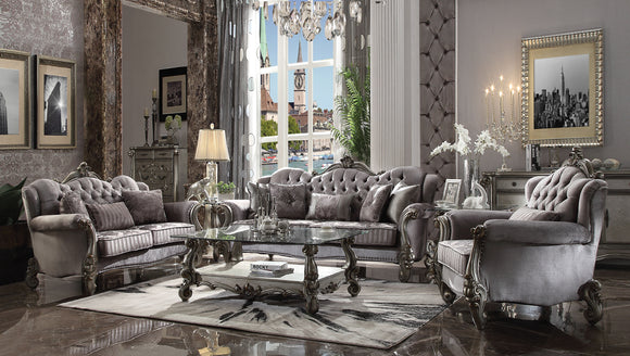 Versailles Velvet & Antique Platinum Sofa w/5 Pillows image