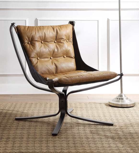 Carney Coffee Top Grain Leather Accent Chair image