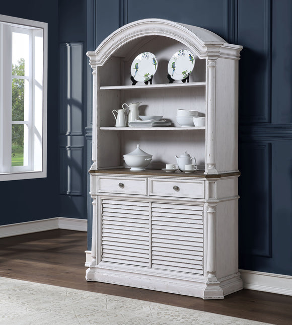York Shire Dark Charcoal & Antique White Hutch & Buffet image