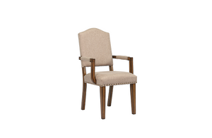 Maurice Khaki Linen & Antique Oak Arm Chair image