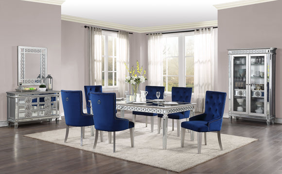 Varian Mirrored & Antique Platinum Dining Table (72