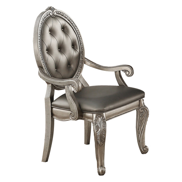 Northville PU & Antique Silver Arm Chair image