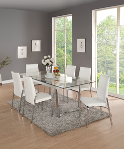 Osias Chrome & Clear Glass Dining Table image