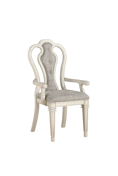 Kayley Linen & Antique White Arm Chair image