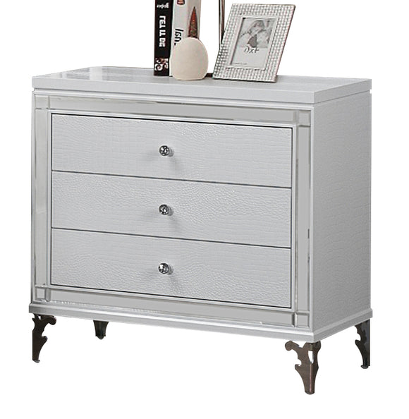 Global Furniture Catalina 3 Drawer Nightstand in Metallic White image