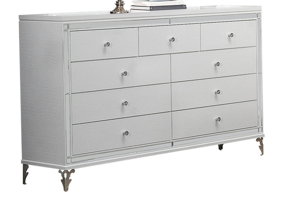 Global Furniture Catalina 9 Drawer Dresser in Metallic White image