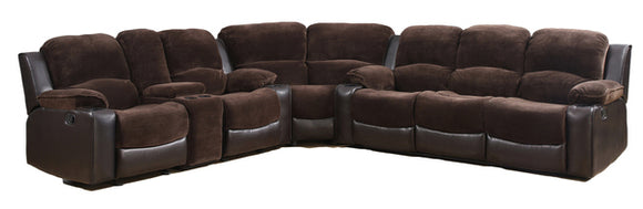 Global Furniture U1301 3-Piece Sectional in Champion Chocolate/Brown image