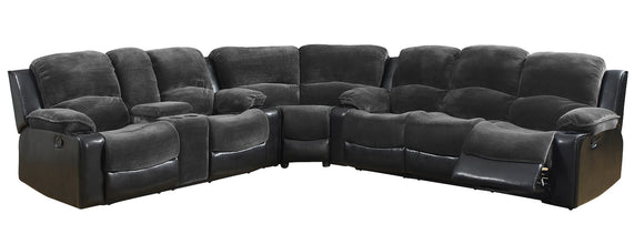 Global Furniture U1301 3-Piece Sectional in Champion Thunder/Black image