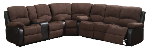 Global Furniture U1710 3-Piece Sectional in Rider Chocolate image